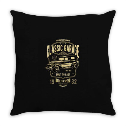 Classic Garage Throw Pillow Designed By Rulart