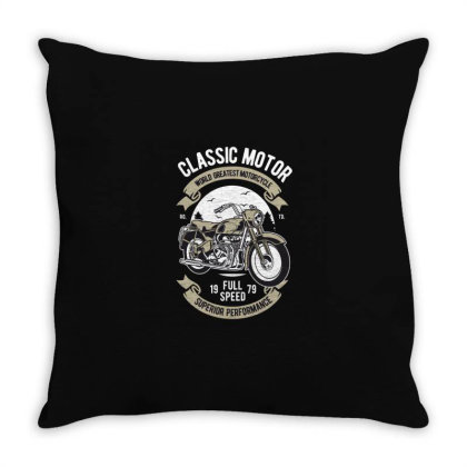 Classic Motorcycle Throw Pillow Designed By Rulart