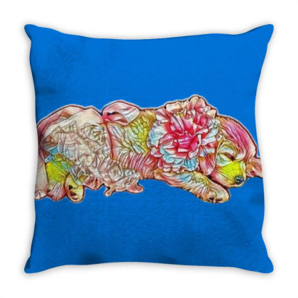 Adorable Six Week Old Golden Throw Pillow Designed By Kemnabi