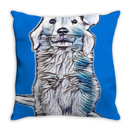 Golden Retriever Puppy Dog We Throw Pillow Designed By Kemnabi