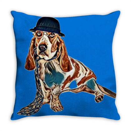A Funny Image Of A Basset Hou Wearing G Throw Pillow Designed By Kemnabi