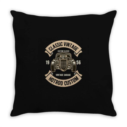 Classic Vintage Hotrod Throw Pillow Designed By Rulart