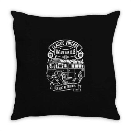 Classic Vintage Bus Throw Pillow Designed By Rulart