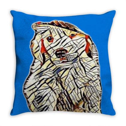 Golden Retriever Puppy Wearin Throw Pillow Designed By Kemnabi