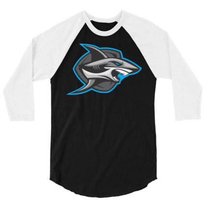 Shark 3/4 Sleeve Shirt Designed By Januarart