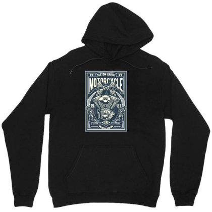 Custom Engine Motorcycle Unisex Hoodie Designed By Rulart