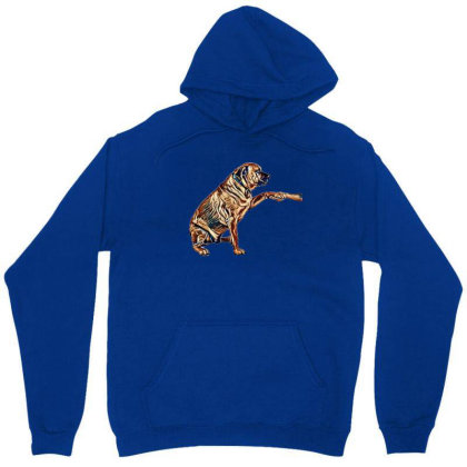 Large Breed Dog Shaking Hands Unisex Hoodie Designed By Kemnabi