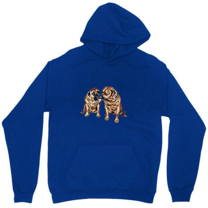 Two Mastiff Dogs Sitting Agai Unisex Hoodie Designed By Kemnabi