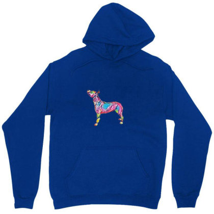 A Pit Bull Dog Standing To Th Unisex Hoodie Designed By Kemnabi