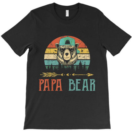 Papa Bear T Shirt Vintage Daddy Wildling Father's Day Dad T-shirt Designed By Amber Petty