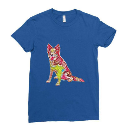 Border Collie Sitting To The Ladies Fitted T-shirt Designed By Kemnabi