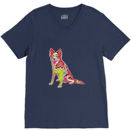 Border Collie Sitting To The V-neck Tee Designed By Kemnabi