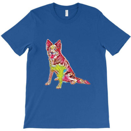 Border Collie Sitting To The T-shirt Designed By Kemnabi