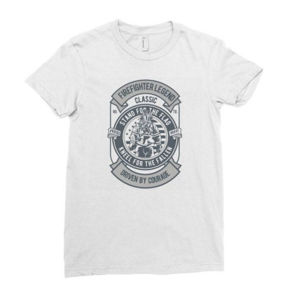 Fire Fighter Legend Ladies Fitted T-shirt Designed By Rulart