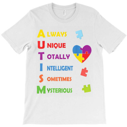 Autism Awareness Autism Acronym And Puzzle Piece T-shirt Designed By Amber Petty
