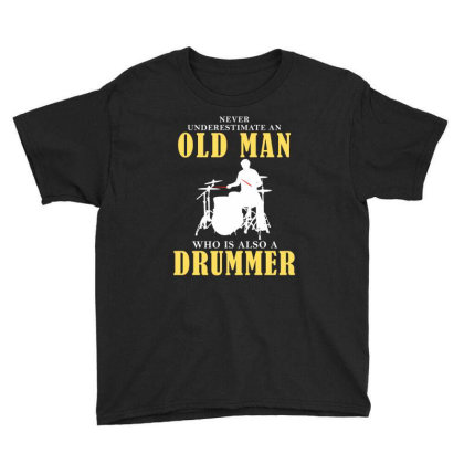 Old Man Drummer Youth Tee Designed By Meza Design