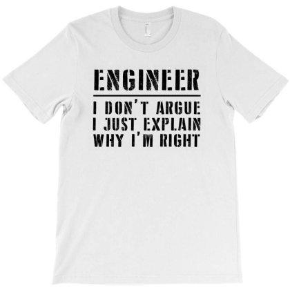 Funny Engineer I Don't Argue Sarcasm   Black T-shirt Designed By Meza Design