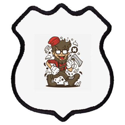 Hipster Lumberjack Shield Patch Designed By Rulart