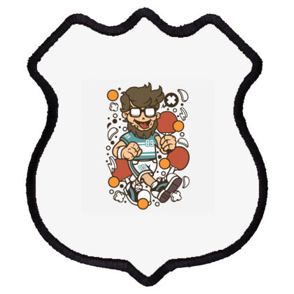 Hipster Ping Pong Shield Patch Designed By Rulart