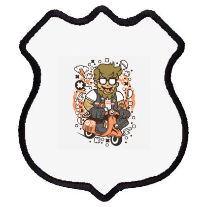 Hipster Scooterist Shield Patch Designed By Rulart