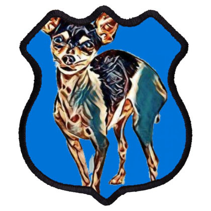 A Cute Chihuahua Dog Standing Shield Patch Designed By Kemnabi