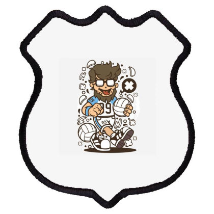Hipster Volley Ball Player Shield Patch Designed By Rulart