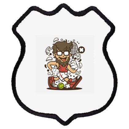 Hipster Tennis Player Shield Patch Designed By Rulart