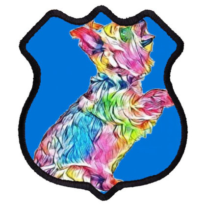 An Attentive Yorkshire Terrie Shield Patch Designed By Kemnabi