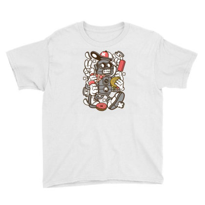 Junk Food Robot Youth Tee Designed By Rulart