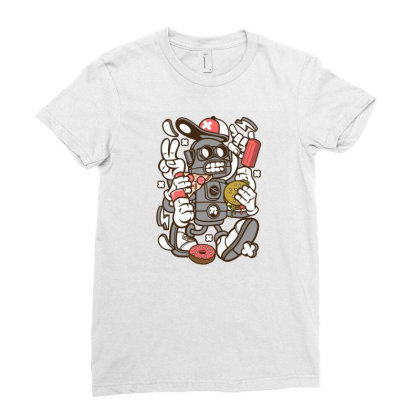 Junk Food Robot Ladies Fitted T-shirt Designed By Rulart