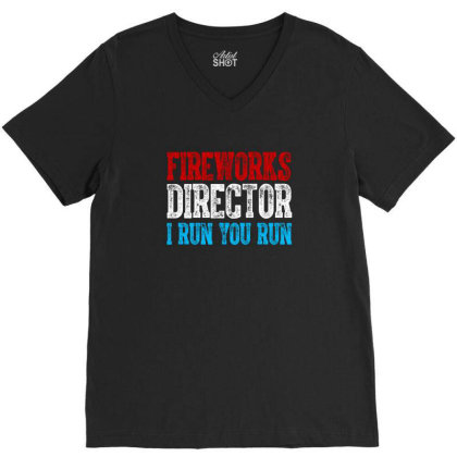 Fireworks Director Independence Day Patriotic V-neck Tee Designed By T-zone
