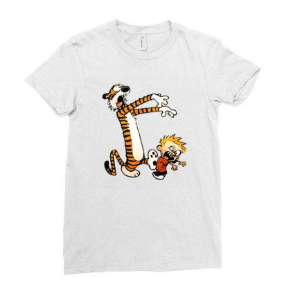 Calvin And Hobbes Halloween Zombie Ladies Fitted T-shirt Designed By Roxanne