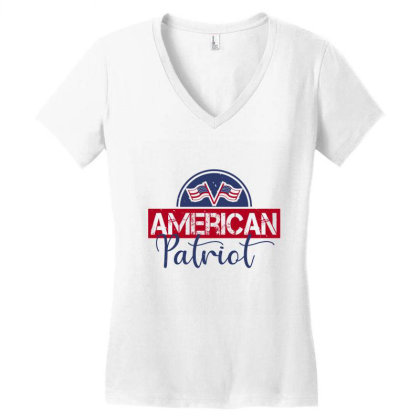 American Patriot Women's V-neck T-shirt Designed By Akinnocreations