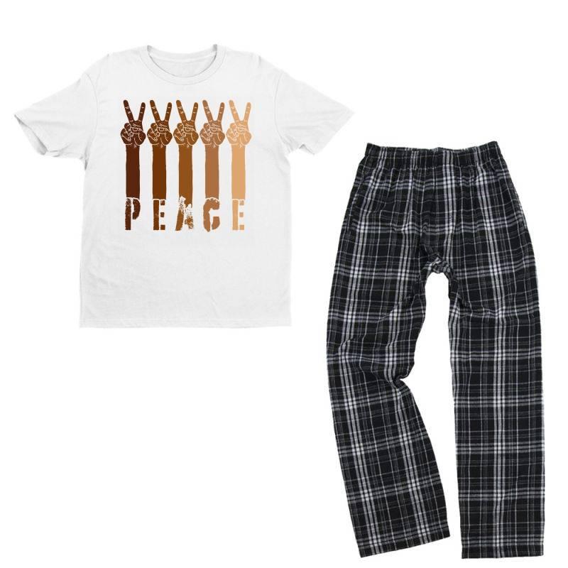 Peace Hand Youth T-shirt Pajama Set | Artistshot