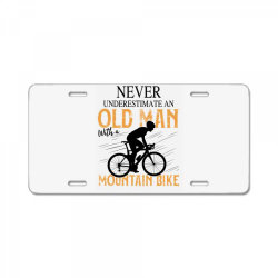 never underestimate and old man with a mountain bike black License Plate | Artistshot