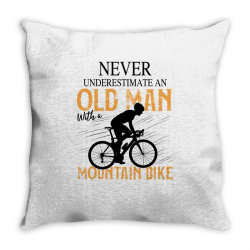 never underestimate and old man with a mountain bike black Throw Pillow | Artistshot
