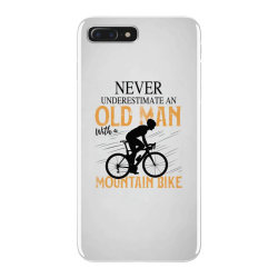 never underestimate and old man with a mountain bike black iPhone 7 Plus Case | Artistshot