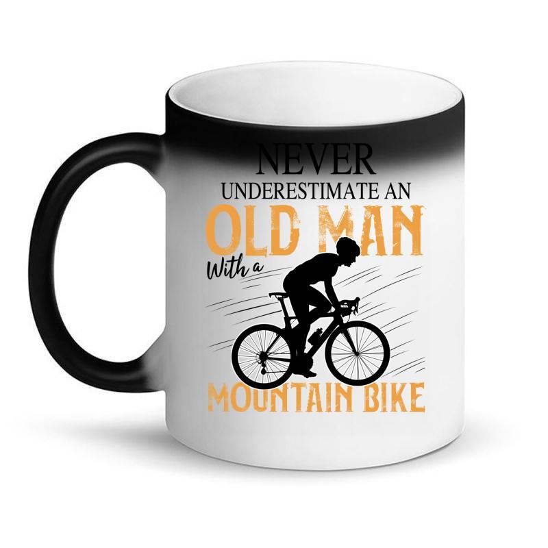 Never Underestimate And Old Man With A Mountain Bike Black Magic Mug   Artistshot