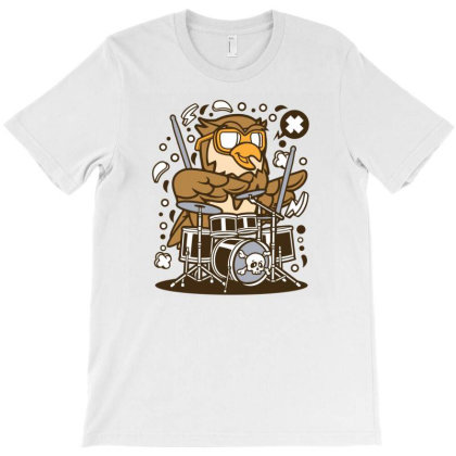 Owl Drummer T-shirt Designed By Rulart