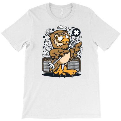 Owl Singer T-shirt Designed By Rulart