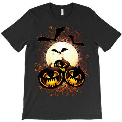 Black Evil Pumpkins Halloween Night T-shirt Designed By Thechameleonart