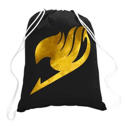 Tail Anime Golden Drawstring Bags Designed By Feniavey