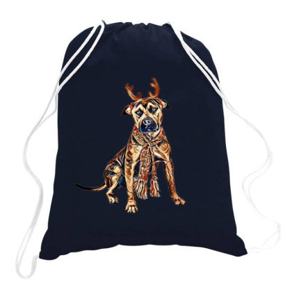 A Festive Staffordshire Bull Drawstring Bags Designed By Kemnabi