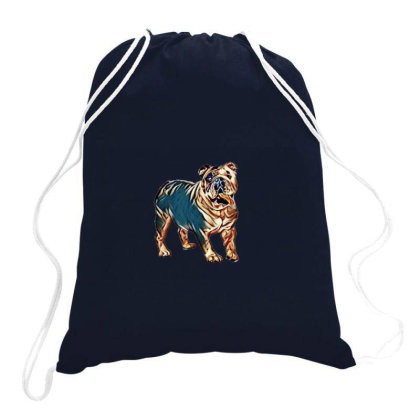 A Cute And Happy English Bull Drawstring Bags Designed By Kemnabi