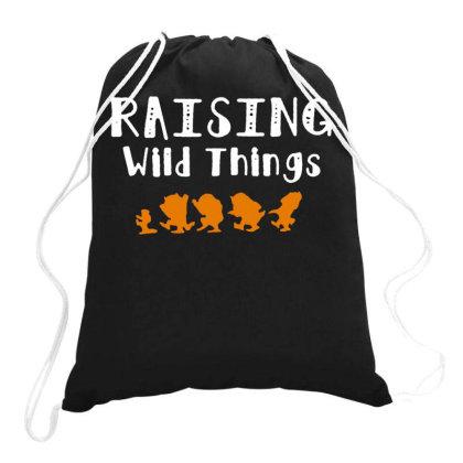 Raising Wild Things Drawstring Bags Designed By Pinkanzee