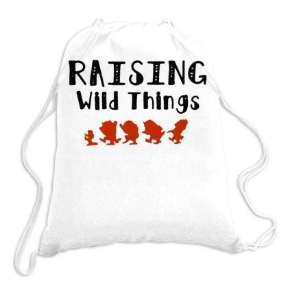 Raising Wild Things Hot Drawstring Bags Designed By Pinkanzee