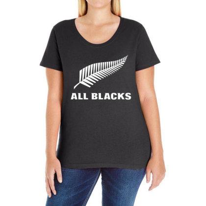 New Zealand All Blacks Ladies Curvy T-shirt Designed By Pinkanzee