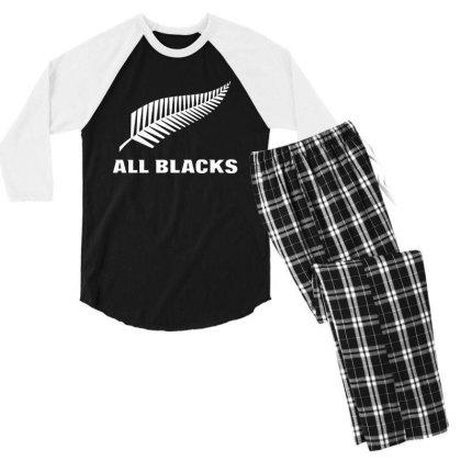 New Zealand All Blacks Men's 3/4 Sleeve Pajama Set Designed By Pinkanzee