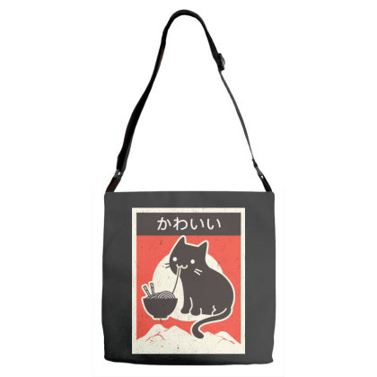 Vintage Style Japenese Ramen Cat Adjustable Strap Totes Designed By Pinkanzee