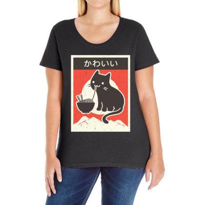 Vintage Style Japenese Ramen Cat Ladies Curvy T-shirt Designed By Pinkanzee
